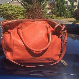 Pebble leather large VC convertible bag, EUC